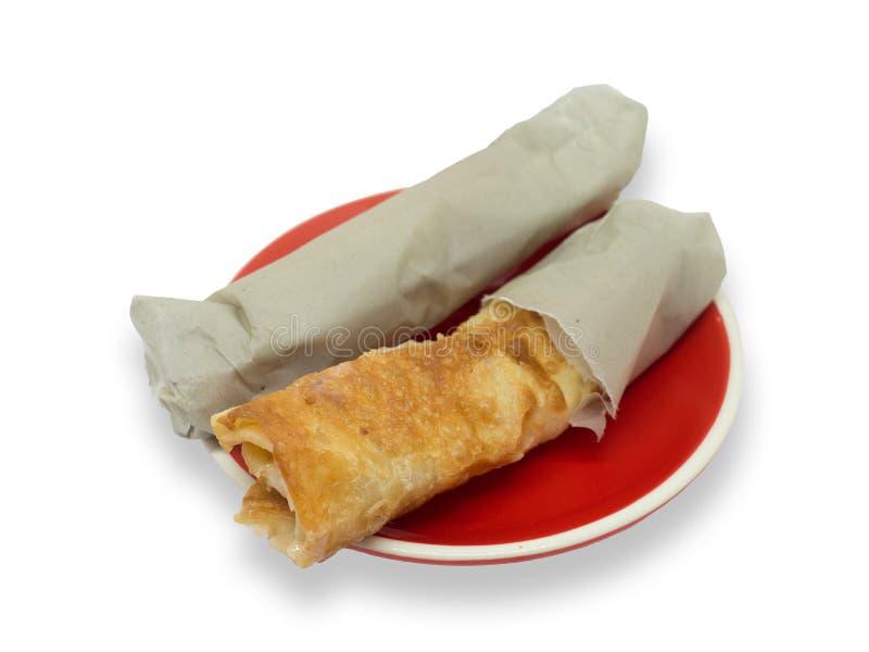 Тайский стиль Roti на красном блюде обычно служил как завтрак или закуска стоковое изображение
