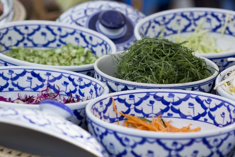 Тайский южный пряный салат с овощами, тайская кухня риса, t стоковое изображение rf