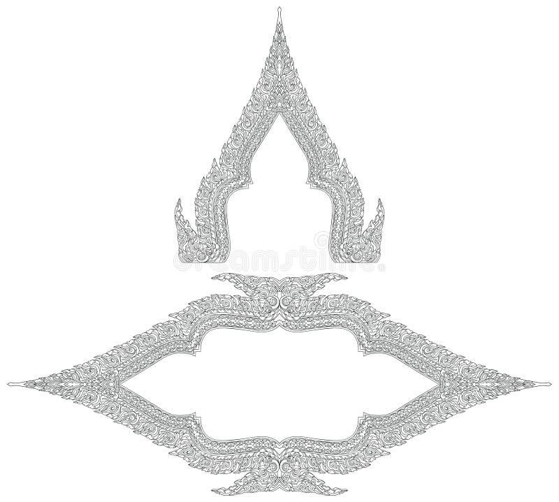 Тайскими рамки стиля орнаментированные богачами бесплатная иллюстрация