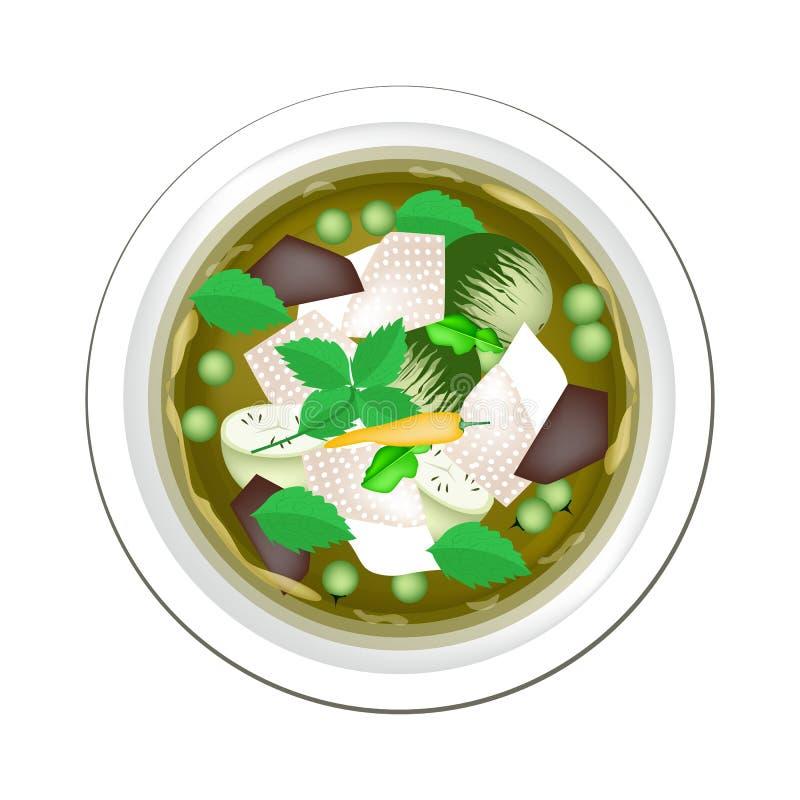 Тайское зеленое карри с цыпленком и баклажаном бесплатная иллюстрация