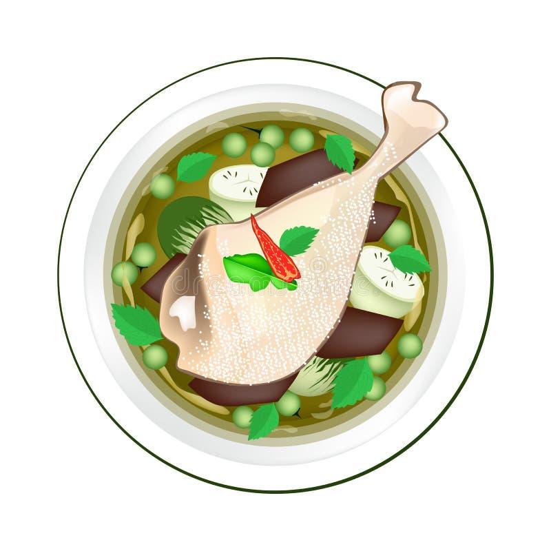 Тайское зеленое карри с цыпленком и зеленым баклажаном бесплатная иллюстрация