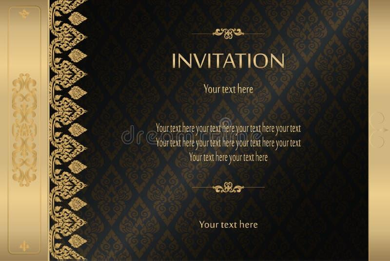 Тайское золото на черной роскошной винтажной карточке приглашения предпосылки конспекта вектора, поздравительной открытке, торжес бесплатная иллюстрация