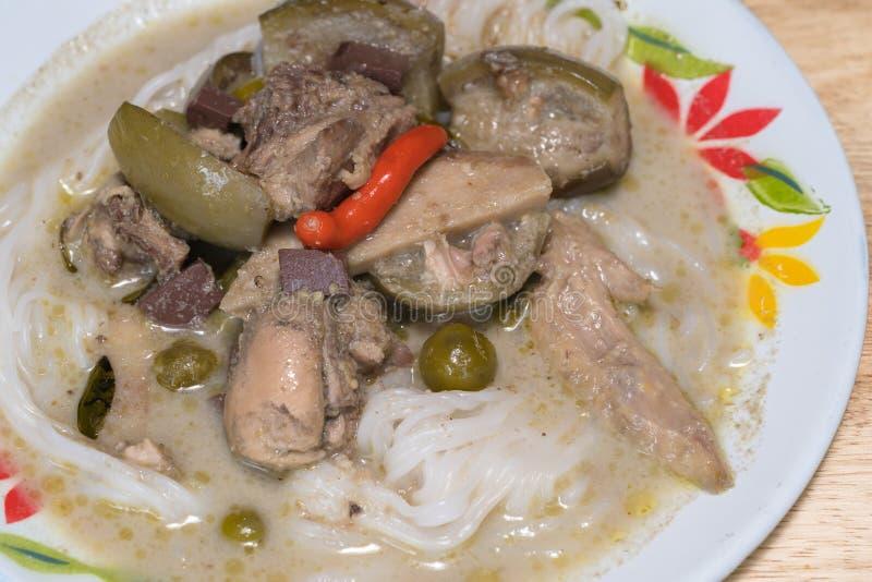 Тайское карри цыпленка зеленого цвета еды, тайская известная еда стоковые фото