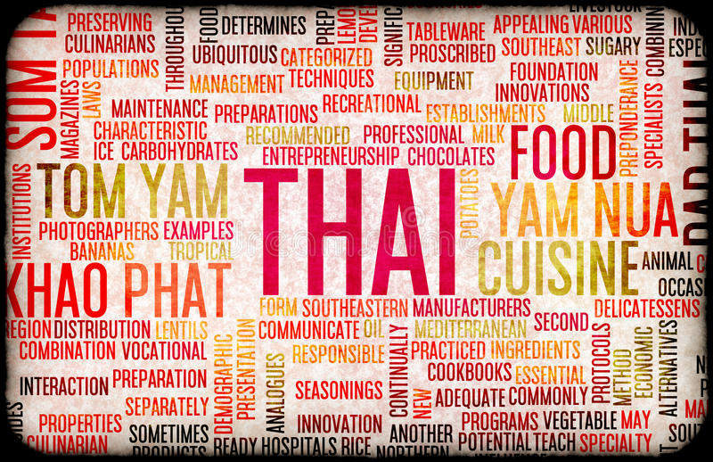 Тайское меню еды иллюстрация вектора