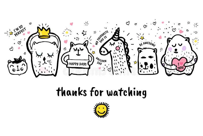 также вектор иллюстрации притяжки corel Большое спасибо для наблюдая статьи блога знамени видео- бесплатная иллюстрация