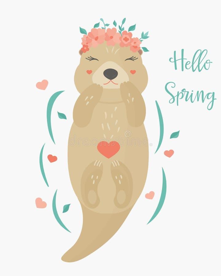 также вектор иллюстрации притяжки corel Здравствуйте! карточка весны с выдрой иллюстрация вектора