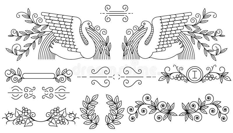 также вектор иллюстрации притяжки corel Комплект разделителей текста и орнаментальных каллиграфических линий иллюстрация вектора