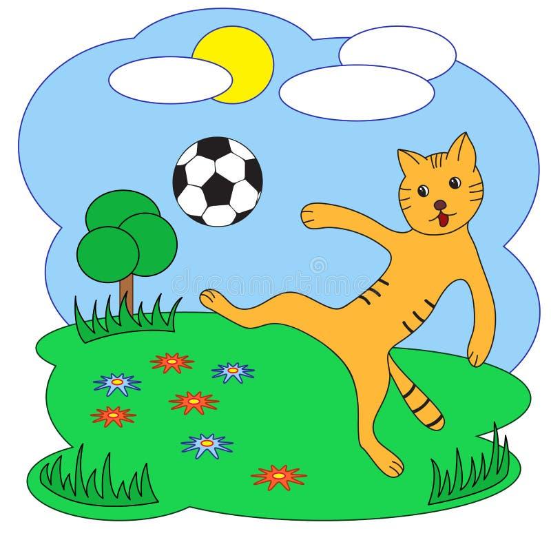 также вектор иллюстрации притяжки corel Кот с футбольным мячом бесплатная иллюстрация