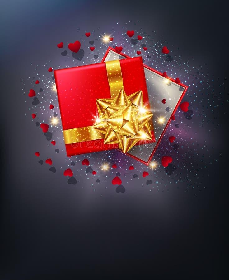 также вектор иллюстрации притяжки corel Красная подарочная коробка с смычком золота с sparkles иллюстрация вектора
