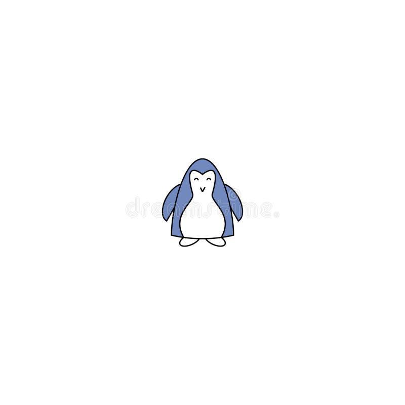 также вектор иллюстрации притяжки corel Пингвин мультфильма голубой изолированный на белой предпосылке пингвин младенца милый иллюстрация штока