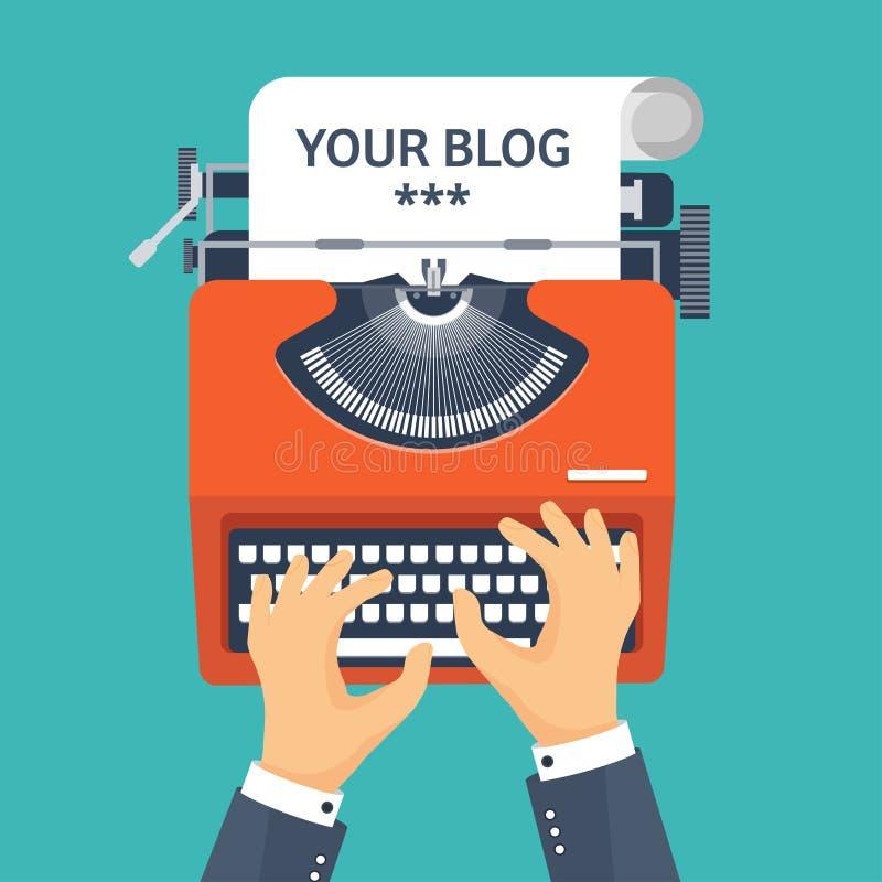 также вектор иллюстрации притяжки corel Плоско typewrite Скажите ваш рассказ Создавайте блоггинг иллюстрация вектора