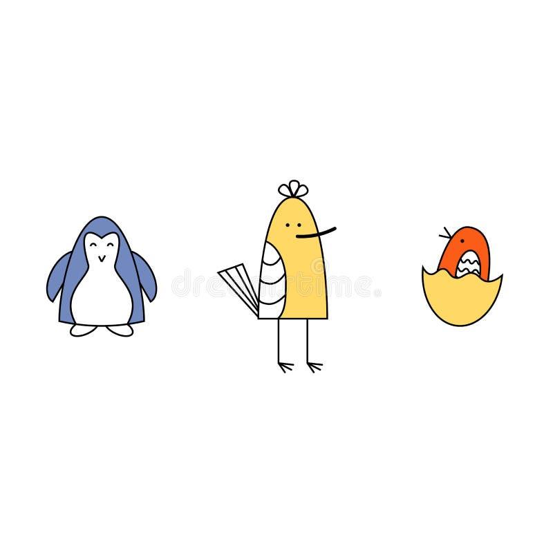 также вектор иллюстрации притяжки corel Установите 3 небольших птиц младенца Голубые, желтые, оранжевые птицы иллюстрация вектора