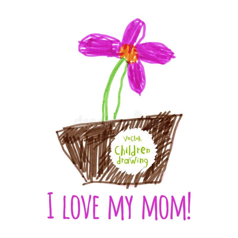также вектор иллюстрации притяжки corel Чертеж наивных детей цветки изолировали белизну бака бесплатная иллюстрация