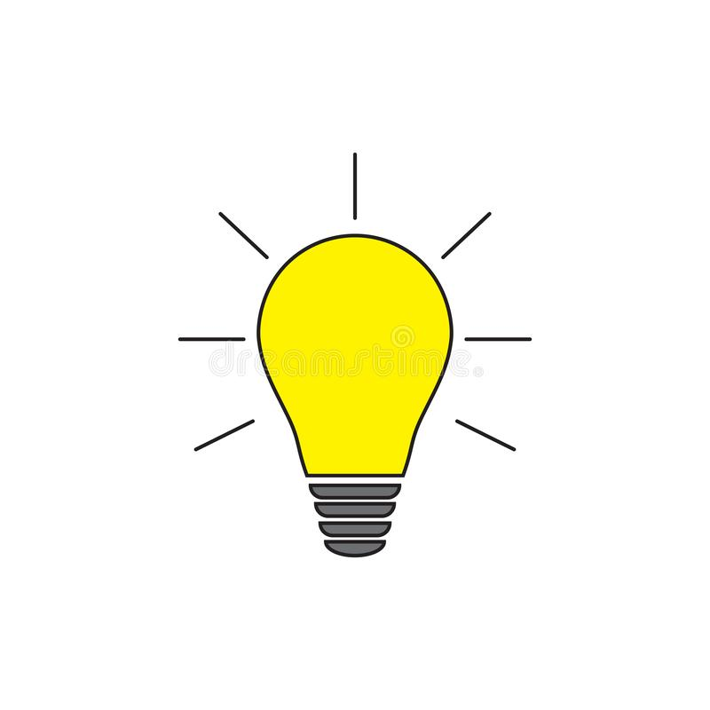 также вектор иллюстрации притяжки corel Электрическая лампочка с блеском лучей Символ энергии и идеи бесплатная иллюстрация