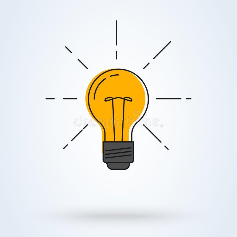 также вектор иллюстрации притяжки corel Электрическая лампочка с блеском лучей Линия дизайн искусства плоский Символ энергии и ид иллюстрация вектора