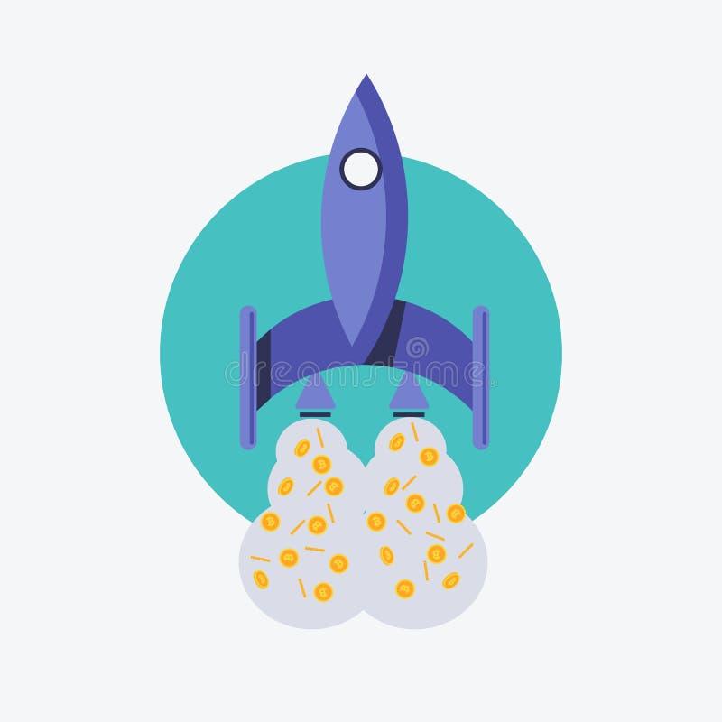 также вектор иллюстрации притяжки corel 10 eps Цвет значка Ракеты, космического корабля и bitcoin Bitcoin корабля Ракеты летает иллюстрация вектора