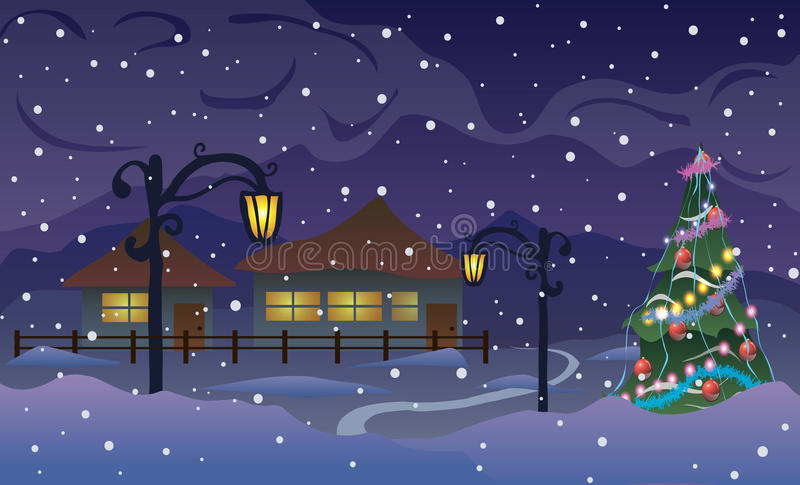 также вектор иллюстрации притяжки corel Новый Год Дорога к деревне в горах и снеге иллюстрация штока
