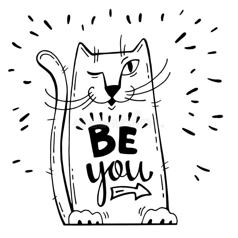 также вектор иллюстрации притяжки corel Положительная карточка с котом шаржа Слова каллиграфии вы Имейте потеху иллюстрация вектора