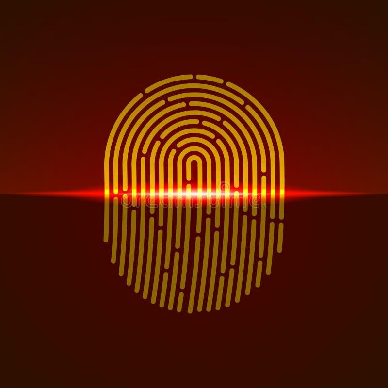 также вектор иллюстрации притяжки corel Fingerprint цвет конструированный для вашего app, проект блока развертки оранжевый ux стоковое изображение