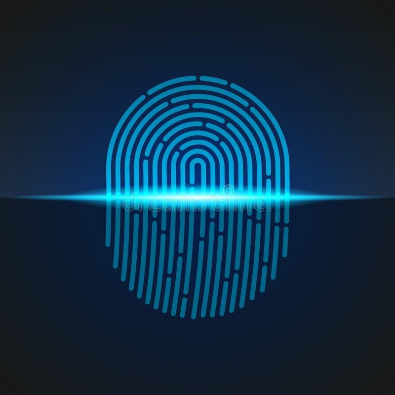 также вектор иллюстрации притяжки corel Fingerprint цвет конструированный для вашего app, проект знака блока развертки голубой ux стоковое изображение