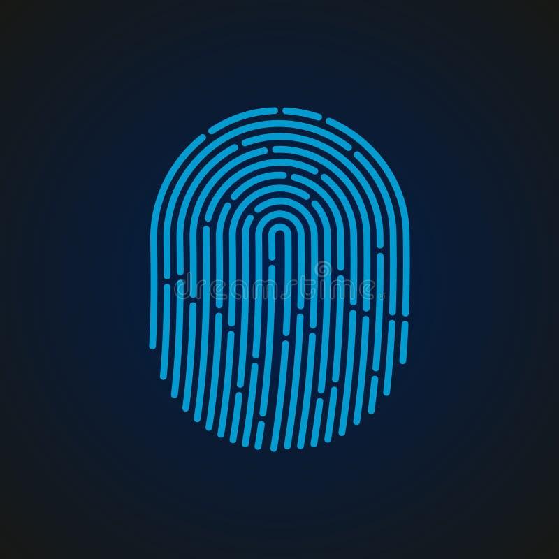 также вектор иллюстрации притяжки corel Fingerprint цвет конструированный для вашего app, проект знака голубой ux стоковая фотография rf