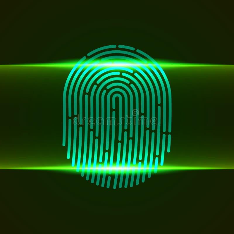 также вектор иллюстрации притяжки corel Fingerprint цвет конструированный для вашего app, проект двойного блока развертки зеленый стоковое фото rf
