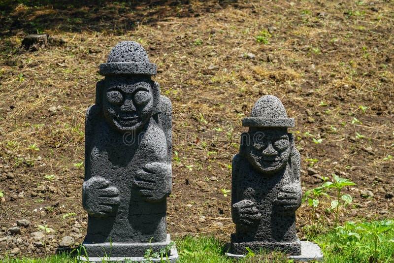 Также вызванное hareubang Dol, harubang tol, hareubang, или harubang - традиционным предохранителем статуи острова Jeju в Южной К стоковые изображения rf