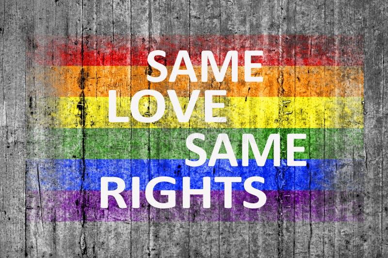 Такие же любят такие же права и флаг LGBT покрашенные на текстуре предпосылки стоковая фотография rf
