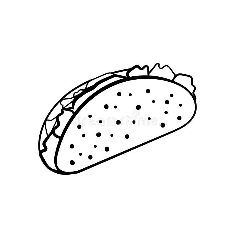 Тако с раковиной tortilla, мексиканской едой, значком обеда, иллюстрацией вектора иллюстрация вектора