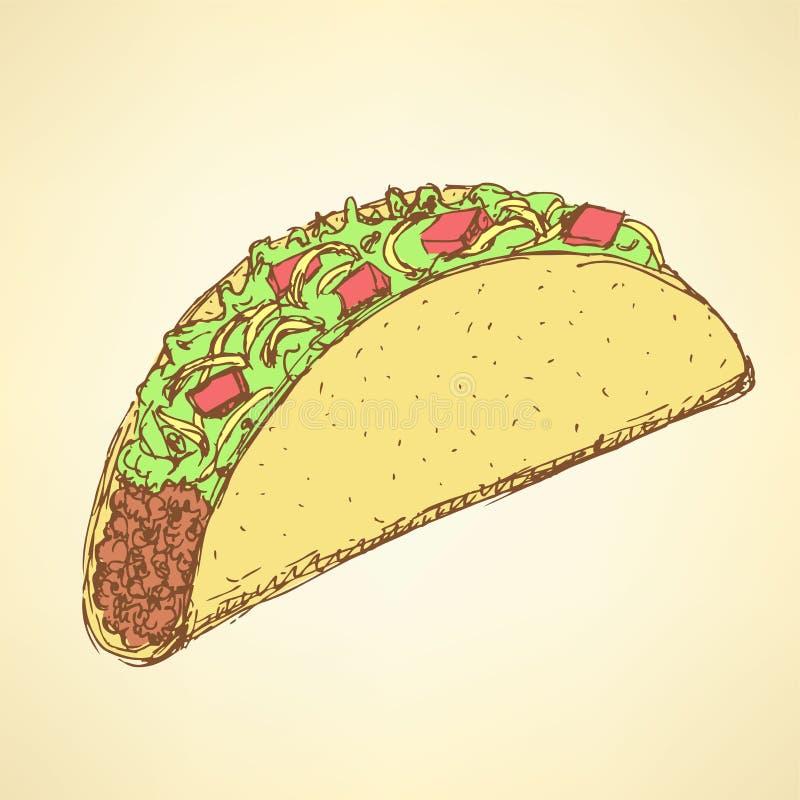 Тако эскиза мексиканское в винтажном стиле бесплатная иллюстрация
