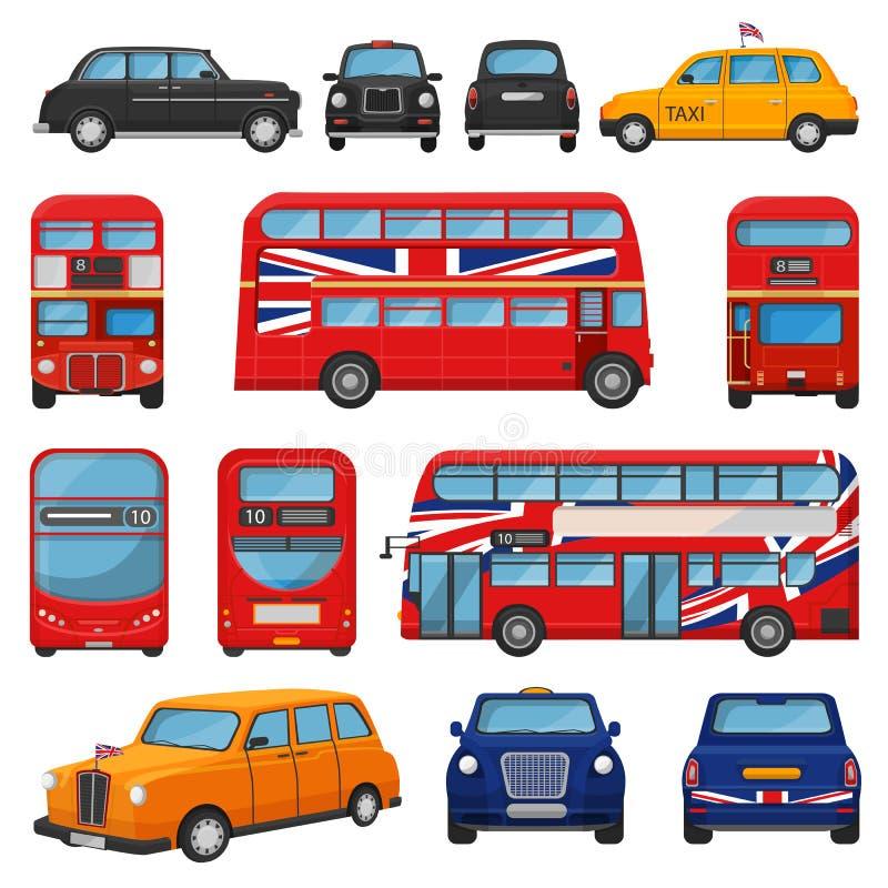 Такси кабины вектора автомобиля Лондона великобританское и шина Великобритании красная для транспортировать в комплект иллюстраци иллюстрация штока