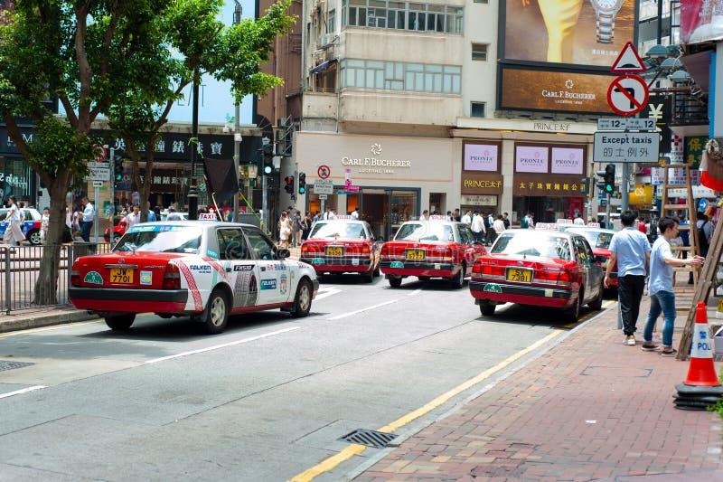 Такси Таймс-сквер Гонконга стоковое фото