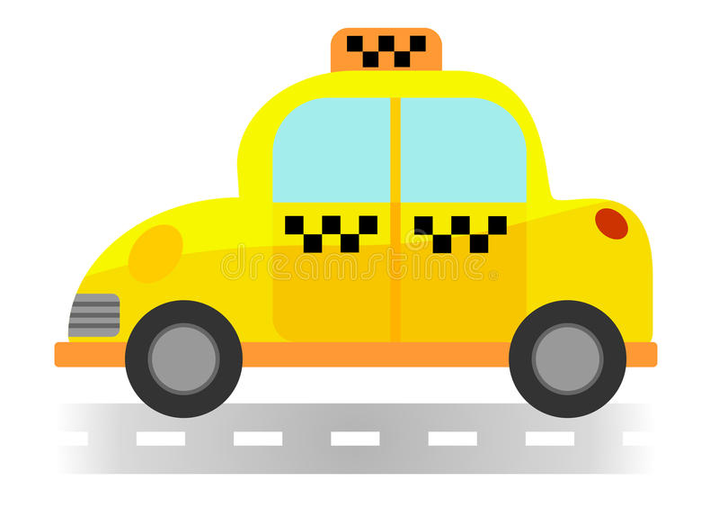 Такси шаржа на белой предпосылке стоковое изображение