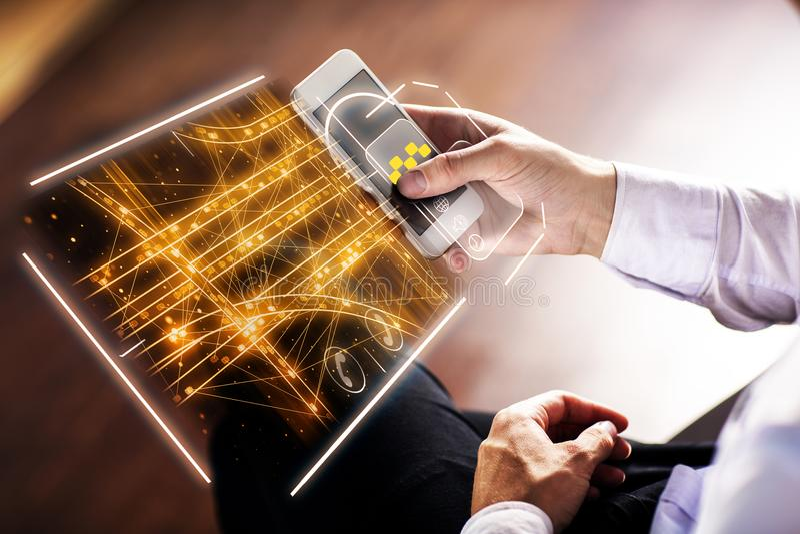 Такси app и концепция технологии стоковые изображения rf