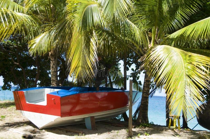 таксомотор шлюпки bequia пляжа стоковое фото