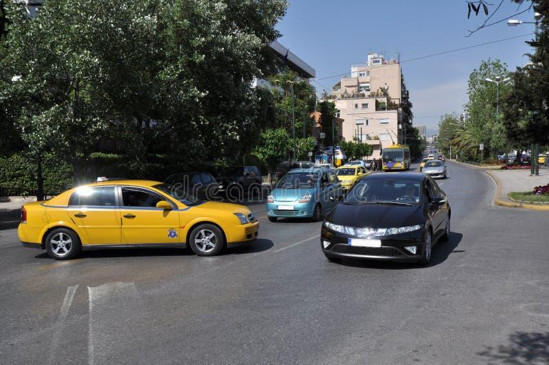 таксомотор athens Греции стоковые фотографии rf