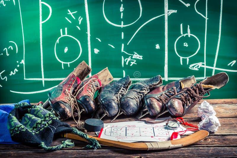 Тактик образования в спичках хоккея на льде стоковые изображения
