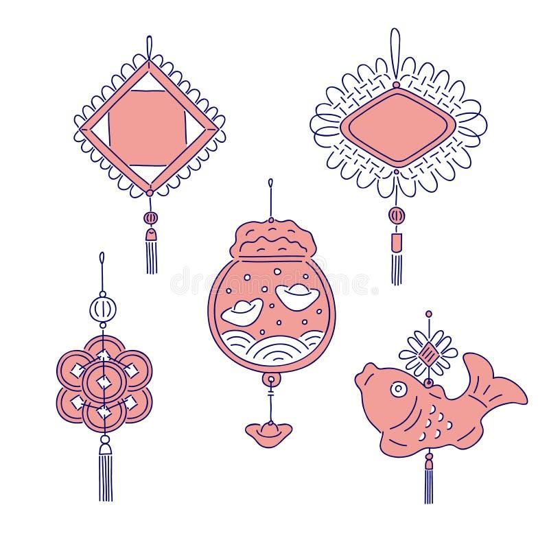 Талисманы денег китайского Нового Года традиционные Линия набор вектора искусства для национального торжества украшения дома отды иллюстрация вектора