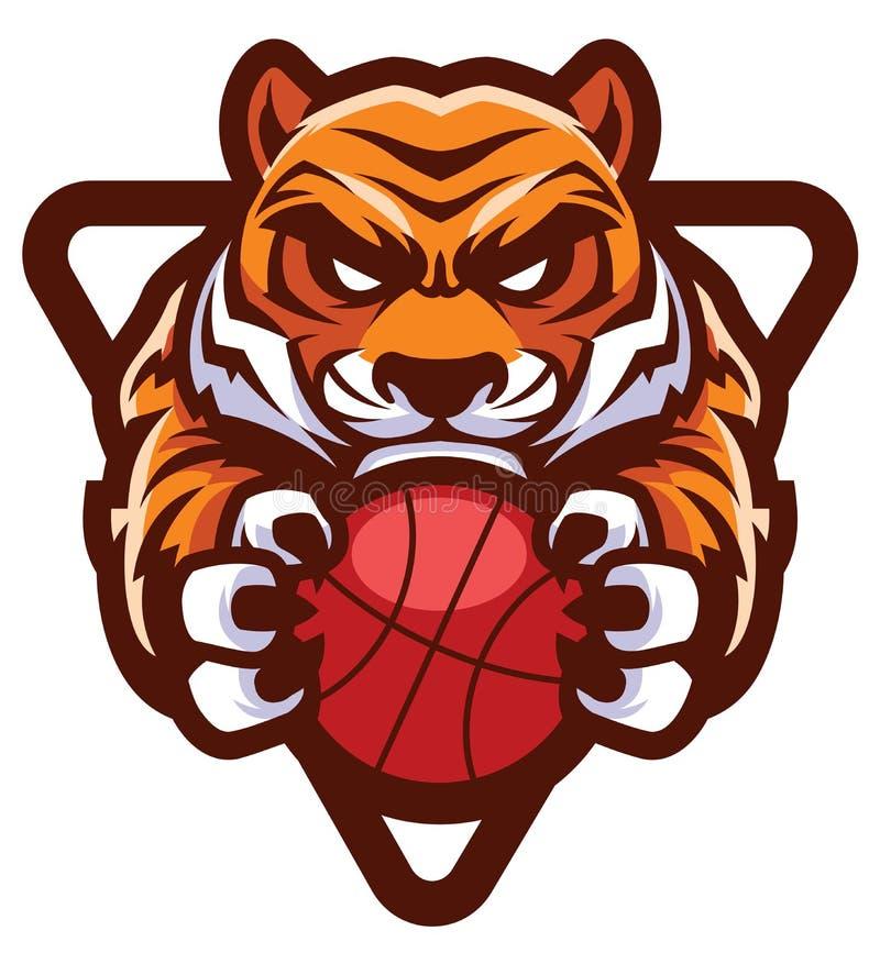 Талисман баскетбола тигра иллюстрация вектора