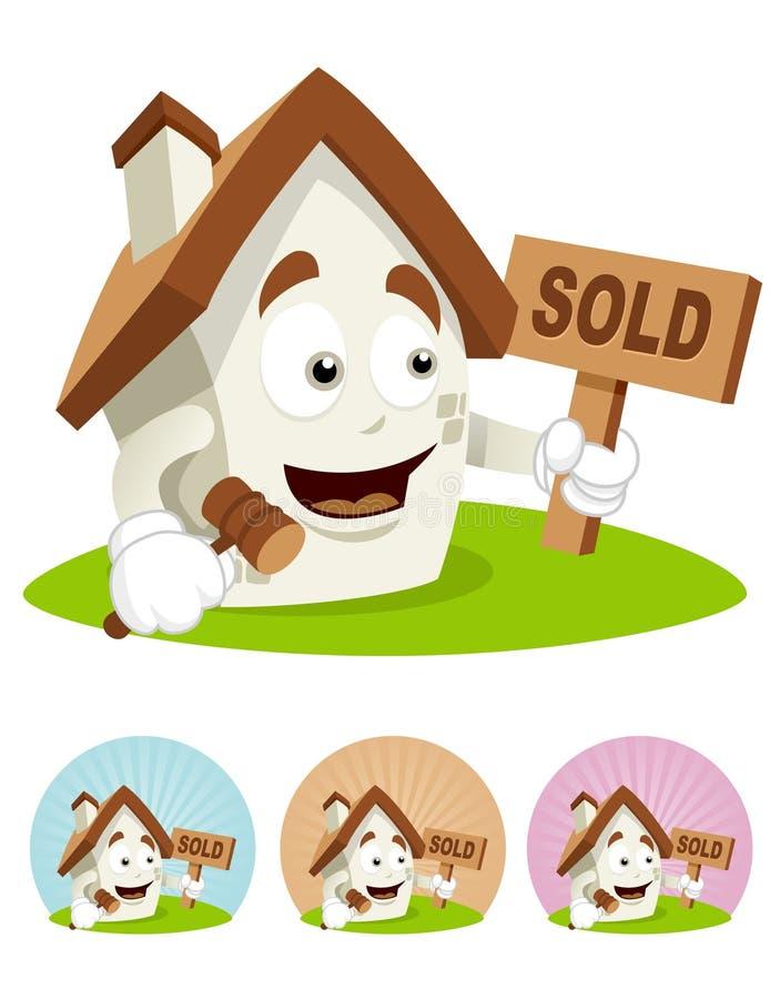 талисман дома шаржа аукциона стоковое фото rf