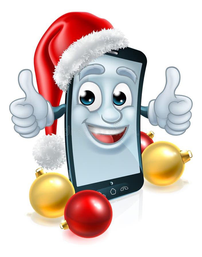 Талисман рождества мобильного телефона клетки в шляпе Санта иллюстрация вектора
