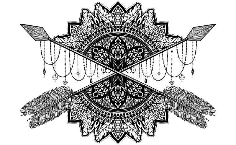 Талисман скрещивания стрелки в этичном и мандала в татуировке стиля Черный график цвета в белой предпосылке иллюстрация штока
