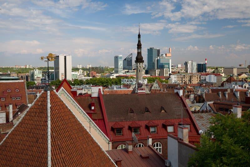 ТАЛЛИН, ЭСТОНИЯ - взгляд от холма платформы, Toompea просмотра Patkuli на старом городке и современного Таллина, Эстонии, 10-ое и стоковые фотографии rf