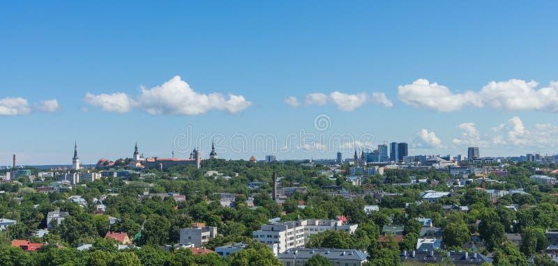 ТАЛЛИН, ЭСТОНИЯ 21 07 Сценарная панорама лета 2017 города t стоковые изображения