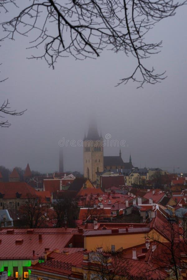 Таллин, Эстония: Церковь St Olaf Воздушный городской пейзаж со средневековым старым городком, ландшафт с панорамой города в туман стоковое изображение