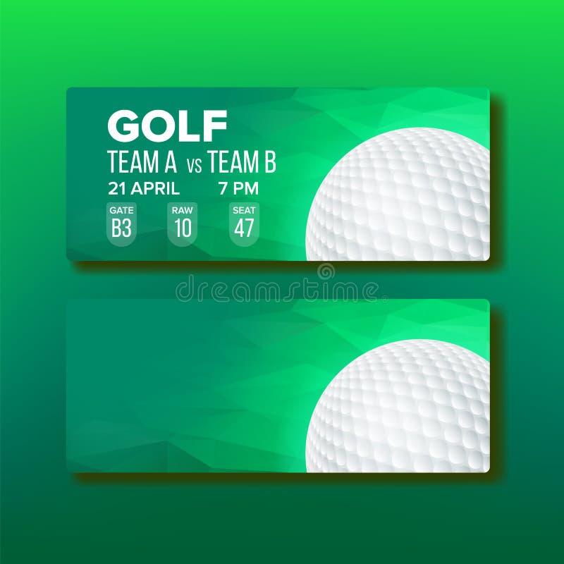 Талон для вектора шаблона игры турнира гольфа иллюстрация вектора