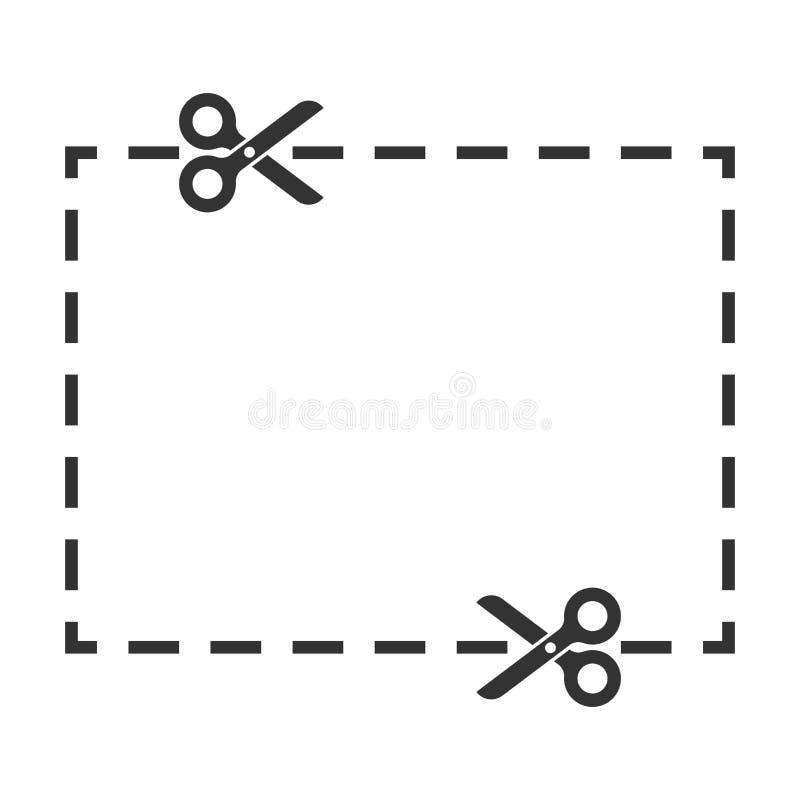 Талон отрезал линии значок в плоском стиле Ножницы отсекают иллюстрацию вектора на белой изолированной предпосылке Концепция дела иллюстрация штока