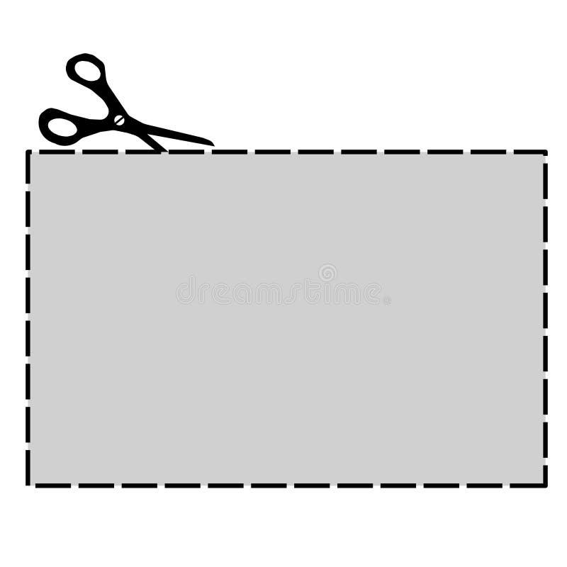 Талон с пунктирной линия для вырезывания иллюстрация вектора