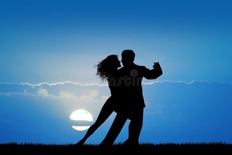 Танго dancig пар на заходе солнца иллюстрация вектора