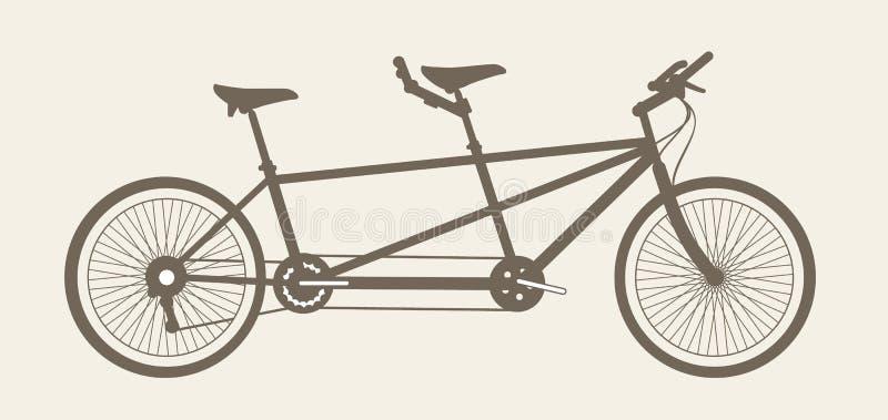 Тандемный силуэт велосипеда, велосипед построенный для 2 стоковые изображения